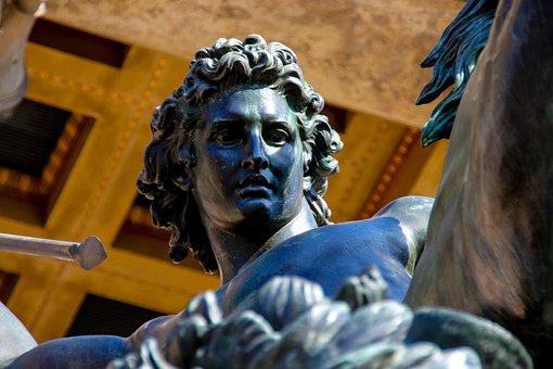 Sculpture, Held, Spear, Fight, Strong, Warrior, Man