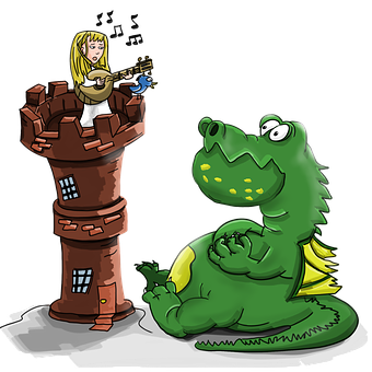 Dragon, Princess, Guitar, To Sing A Song, Castle, Tower