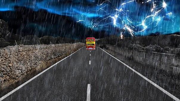 Bus, Road, Storm, Thunderstorm