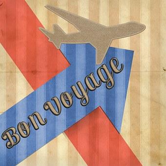 Bon Voyage, Card, Greeting, Cruise, Airplane, Fly