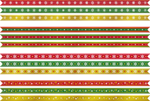 Christmas Ribbons, Christmas, Gold, Red