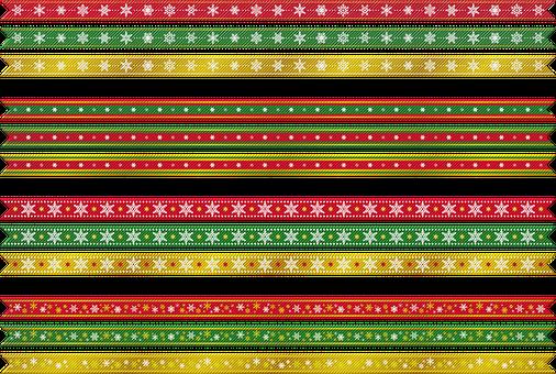Christmas Ribbons, Christmas, Gold, Red, Green, Ribbon