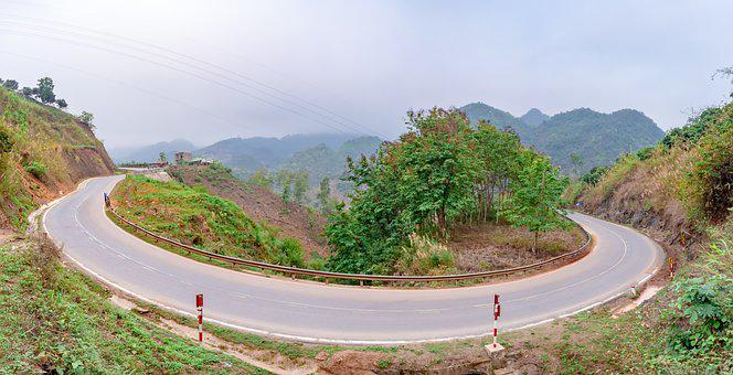 Trees, Green, Mountains, Hills, Cars, Street, The Hill