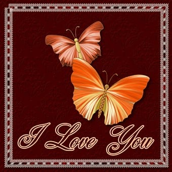 I Love You, Butterflies, Greeting, Card