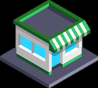 Shop, 3D, Isometric, Mock Up, Sale