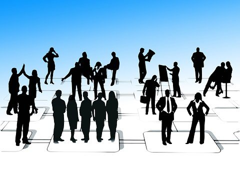 Businessmen, Silhouettes, Man, Woman, Business, Office