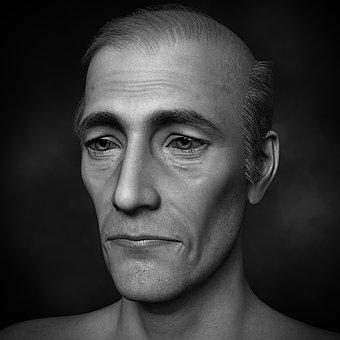 Man, Older, Bald Head, Portrait, Human, Sad, Lonely