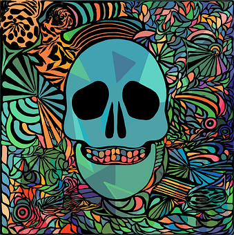 Skull, Geometric, Rainbow, Colorful, Hippie, Gypsy