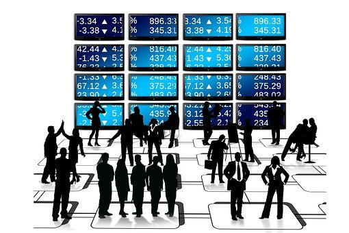 Businessmen, Silhouettes, Stock Exchange, Pay, Monitor