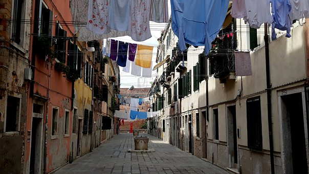 Venice, Alley, Laundry, Dry, Italy, Building, City