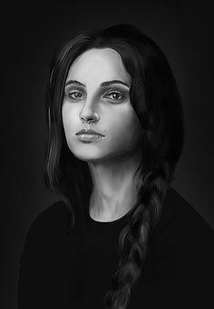Portrait, Painting, Face, Girl