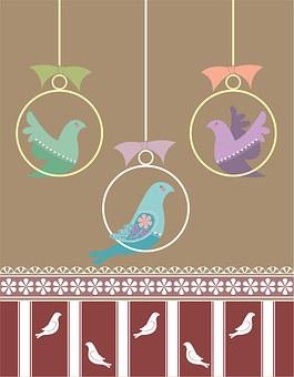 Isolated, Wallpaper, Bird, Sweet, Fowl, Retro Pattern