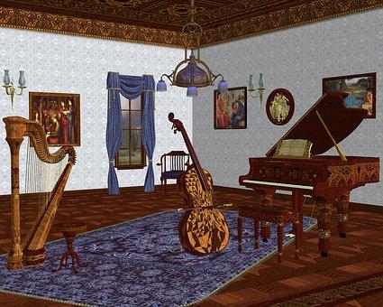Music Room, Musical Instruments, Grand Room, Interior