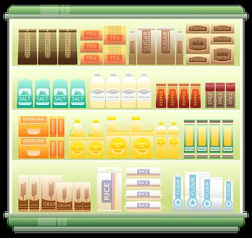Supermarket Shelf, Coffee, Tea, Grains