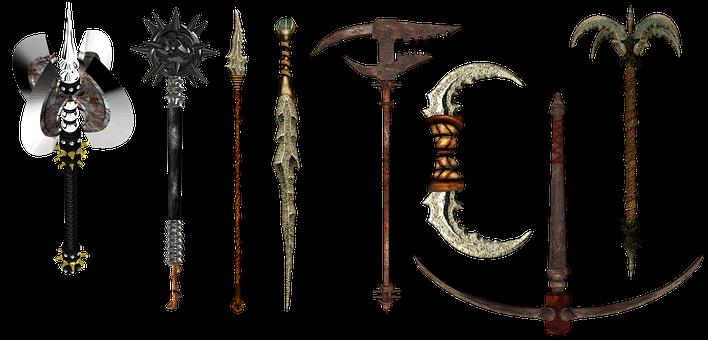 Weapons, Fantasy, Spear, Knife, Dagger, Pick, Mace