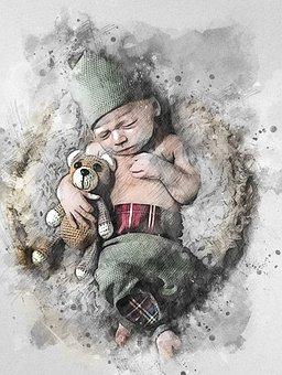 Child, Newborn, Adorable, Young, Portrait, Wood
