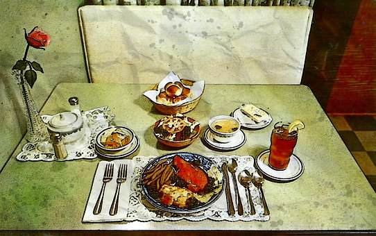 Cheap Dinner For 75 Cents, Era, Circa, 1950s, Post