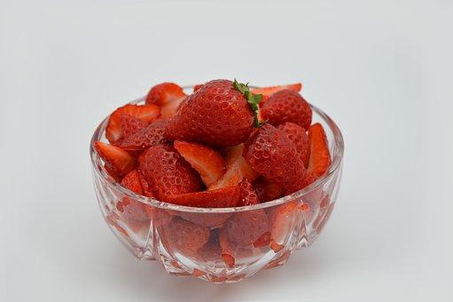 Strawberries, Glass Bowl, Bowl, Red, Fruit, Sweet