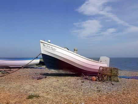 Boat, Fishing Boat, Fishing, Beach, Shore, Suffolk
