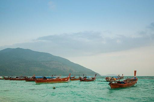 Thailand, No People, Boats, Blue Water, Sea, Sky, Cloud