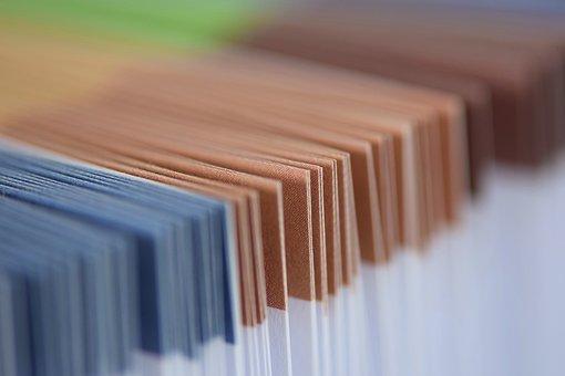 Portfolio, Briefcase, Brown, Blue, Paper, Colorful