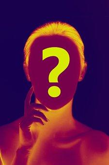 Woman, Face, Head, Question Mark, Circle, Identity