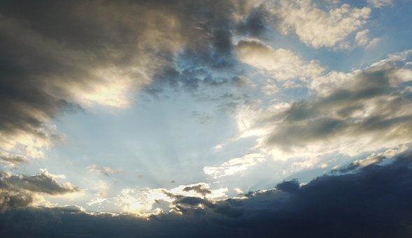 Sky, Clouds, Sunbeam, Abendstimmung, Storm Clouds