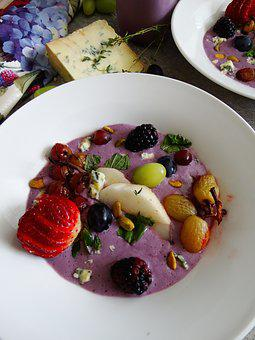 Cold Soup, Fruit, Strawberry, Appetizer, Grapes