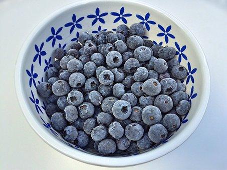 Blueberries, Fruit, Bowl, Frozen, Berry, Food, Sweet