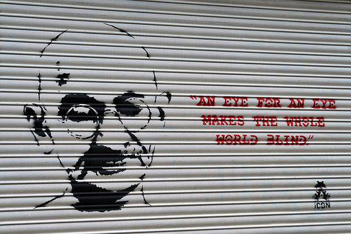 Gandhi, Graffiti, Face, Wisdom, Saying, Street Art