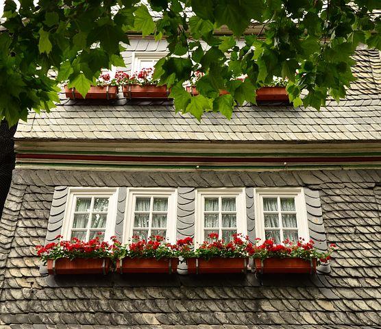 Flower Boxes, Home, Window, Facade, Slate Facade
