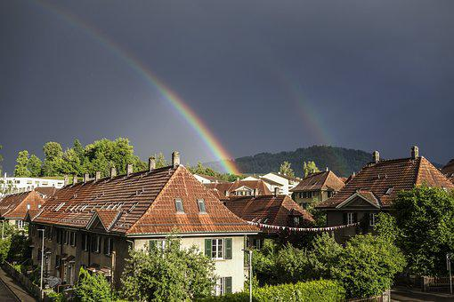 Rainbow, House, Bern, Clouds, Colorful, Rain