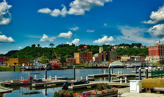 Dubuque, Iowa, City, Urban, Buildings, Waterfront, Dock