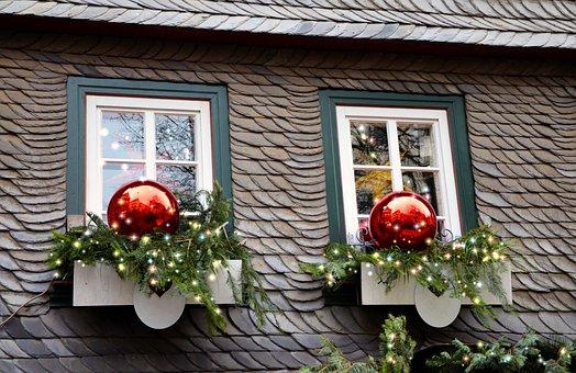 Christmas Decoration, Lichterkette, Window