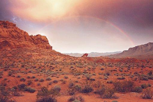 Rainbow, Rain, Sunset, Mountains, Canyons, Nevada
