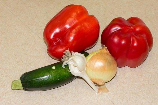 Vegetables, Pepperoni, Paprika, Zucchetti, Zucchini
