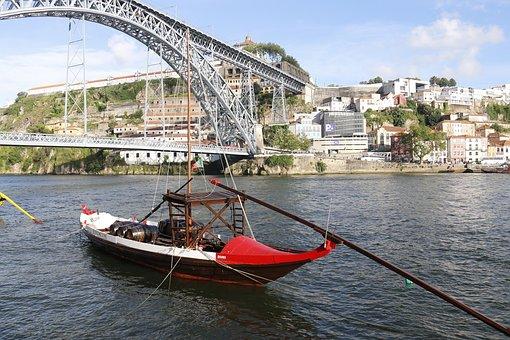Bridge, Porto, River Douro, Wooden Boat, Portugal