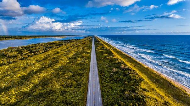 Florida, Sky, Clouds, Sea, Ocean, Waves, Atlantic, Road