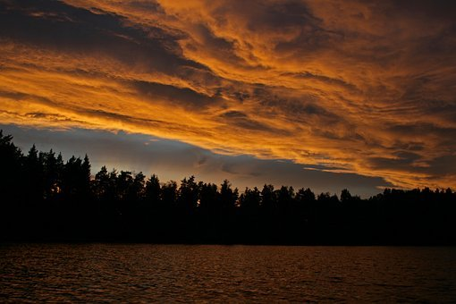Sunset, Abendstimmung, Afterglow, Sky, Sun, Dusk, Red
