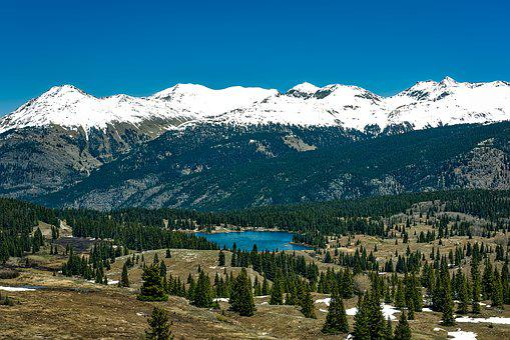 Colorado, Lake Molas, Mountains, Snow, Valley, Forest
