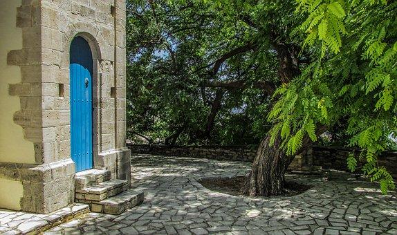 Slate, Square, Tree, Door, Stone, Village, Cyprus