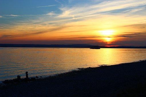 Hagnau, Lake Constance, Sunset, Lake, Bank, Water