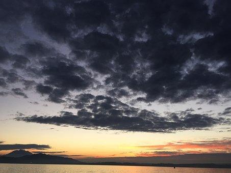 Sunset, Afterglow, Switzerland, Train, Sun, To Want