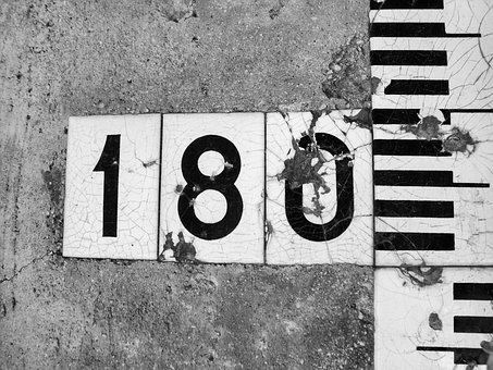 Numbers, 180, Black And White, Sign, White, Black