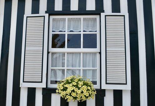 Costa Nova, Portugal, Striped House, Window, Portuguese