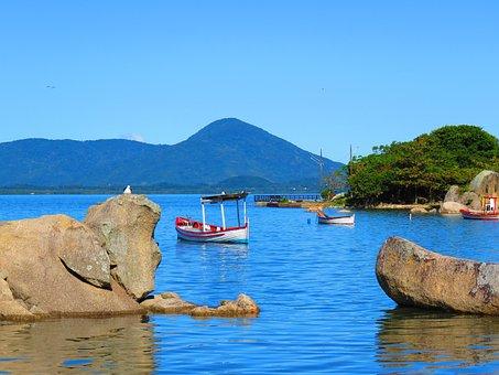 Boat, Mar, Beach, Wooden Boat, Florianópolis, Mountain