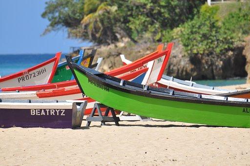 Puerto Rico, Fishing Boats, Boats, Wooden Boats, Sand