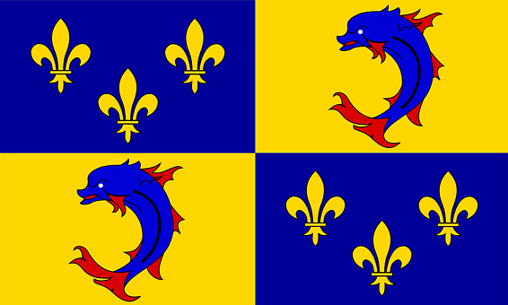 Dauphine, Coat Of Arms, Historical, Dolphin, France