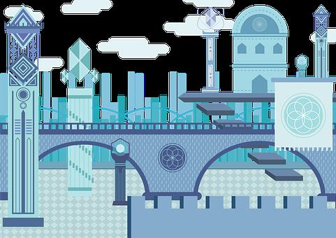 Blue, City, Building, Fantasy, Flower Of Life, Scenes