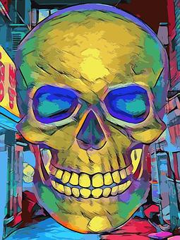 Skull, Neon, City, Demon, Evil, Villain, Goth